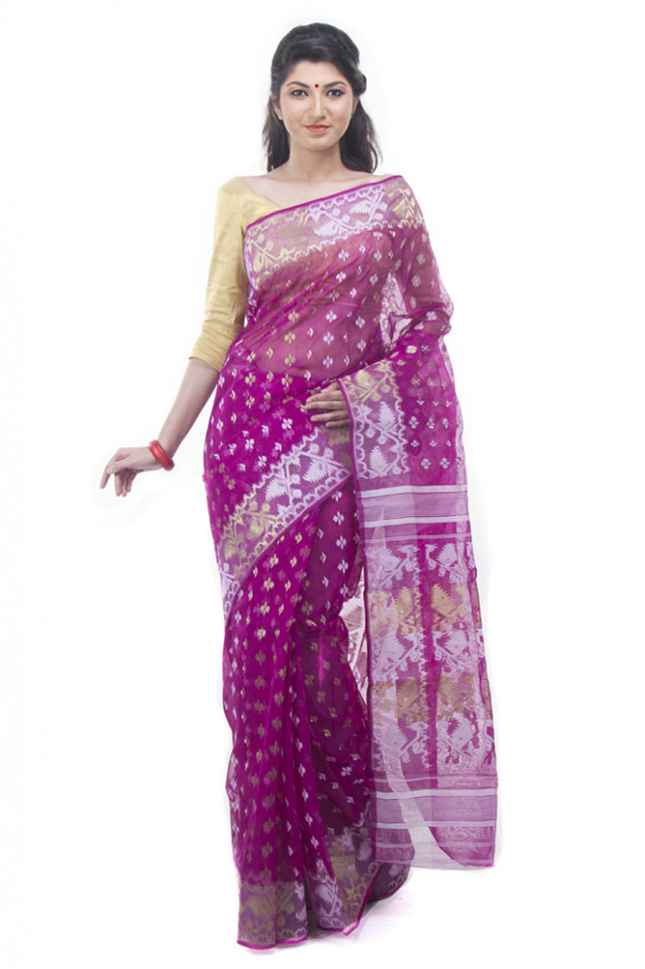 Exclusive Magenta Dhakai Jamdani Saree From Bangladesh