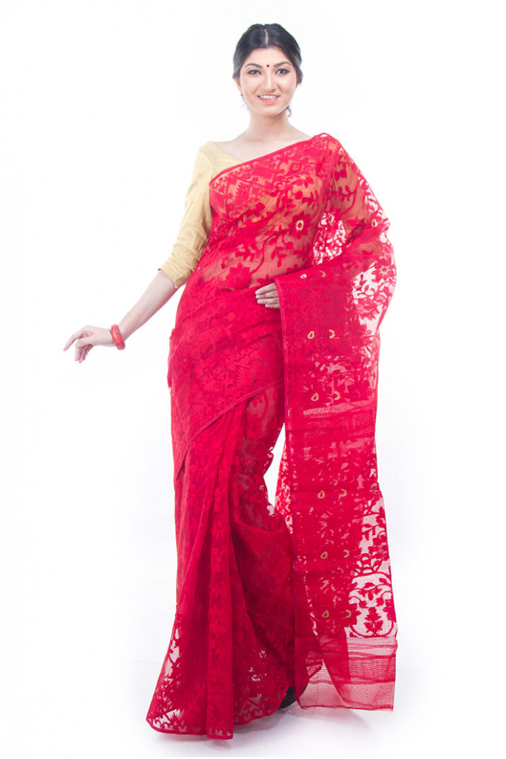 Exclusive Red Dhakai Jamdani Saree From Bangladesh