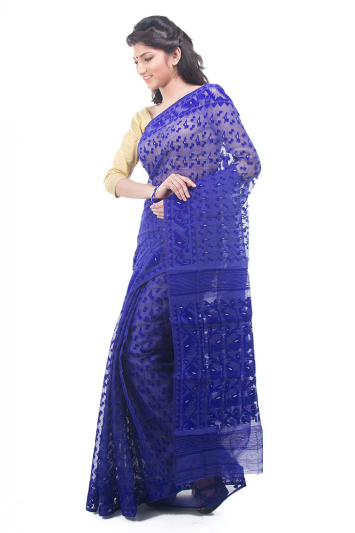 Exclusive Royal Blue Dhakai Jamdani Muslin Saree From  - dhakai jamdani saree