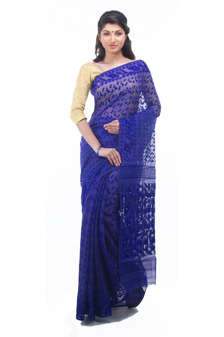 Exclusive Royal Blue Dhakai Jamdani Muslin Saree From