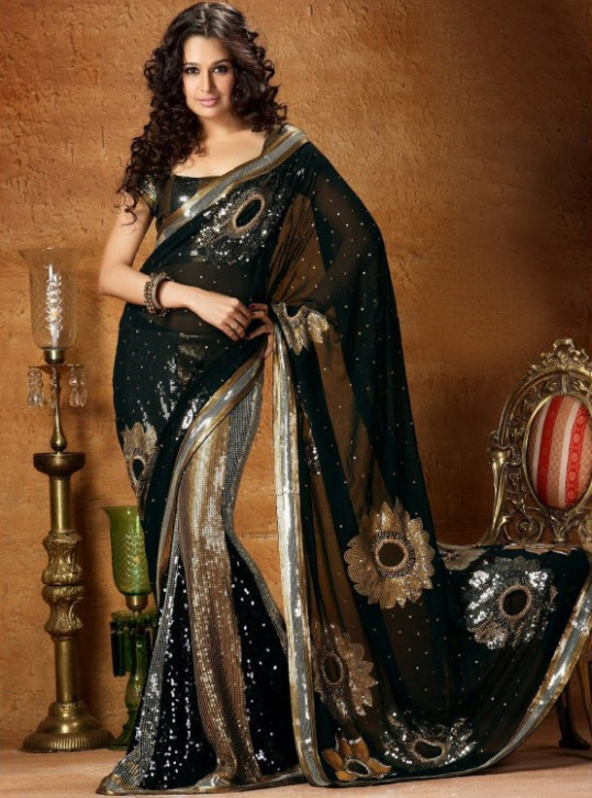 Exquisite Black, Gold & Silver Irridescent Lengha  Indian