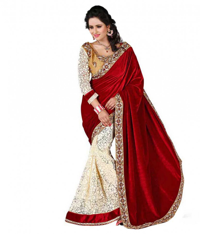 Fabian Fashion Red Velvet Saree - Buy Fabian Fashion Red  - velvet saree