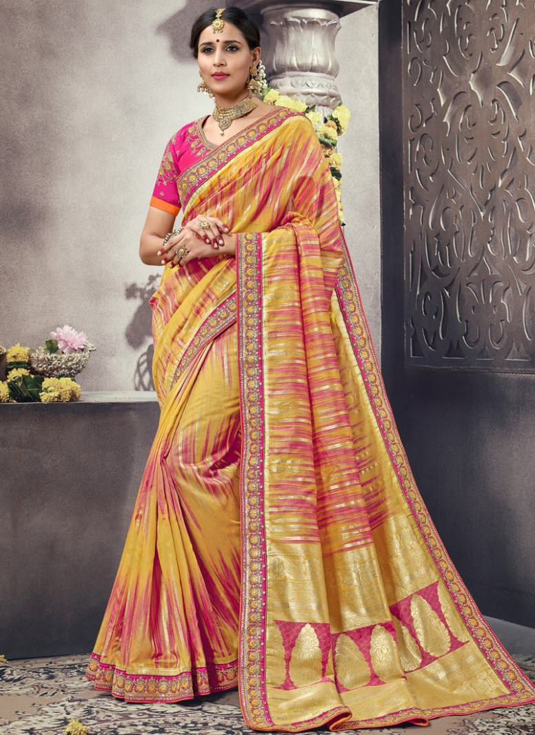 Fancy Silk Material Saree With Different Weawing Print