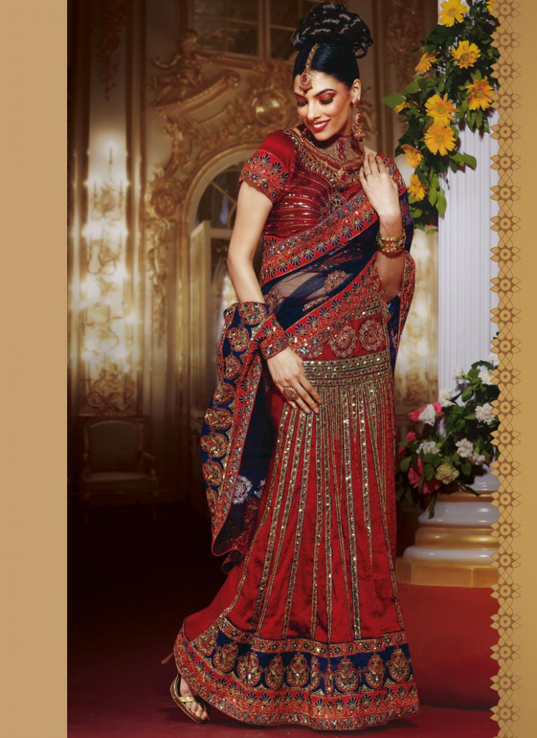 Fashion India: bridal lehenga style saree