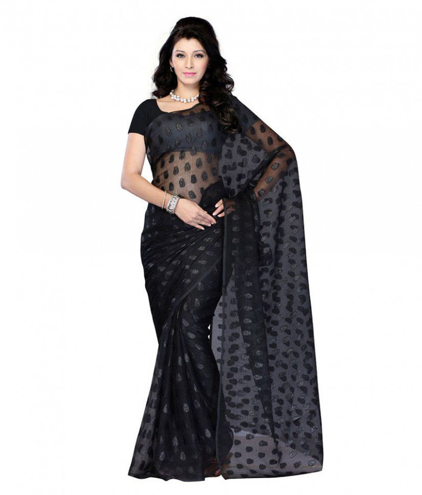 Fashion Sarees Black Net Saree - Buy Fashion Sarees Black