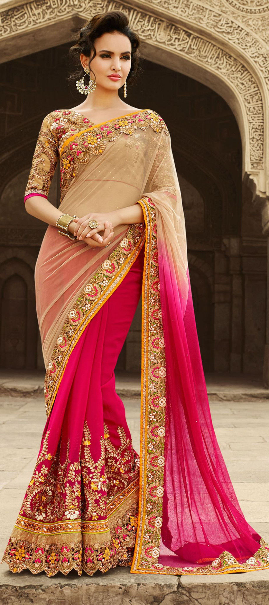 Faux Georgette Bridal Saree in Pink and Majenta with