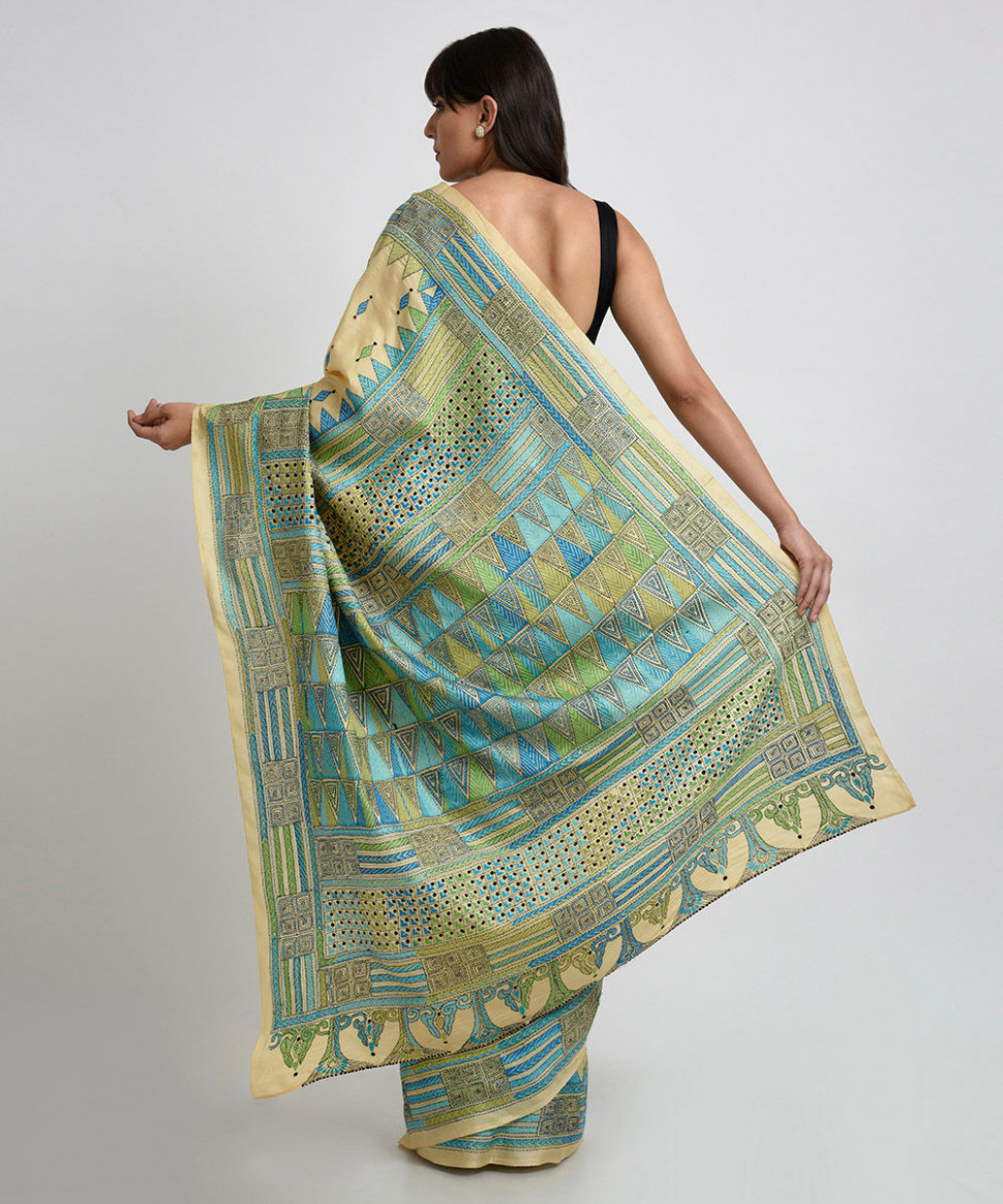 Fawn Gold Pure Silk Hand Embroidered Kantha Saree