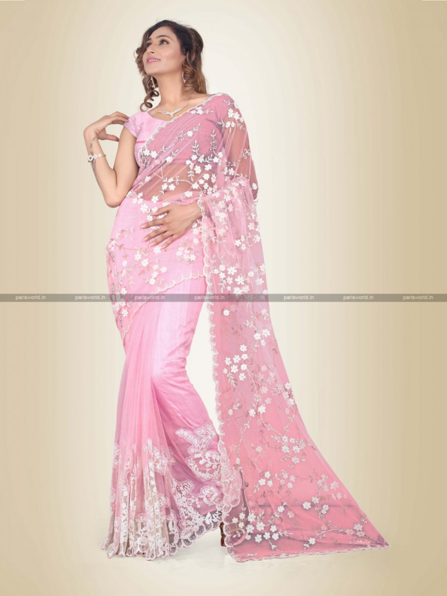 Fine Baby Pink Saree In Indore PWRS100180