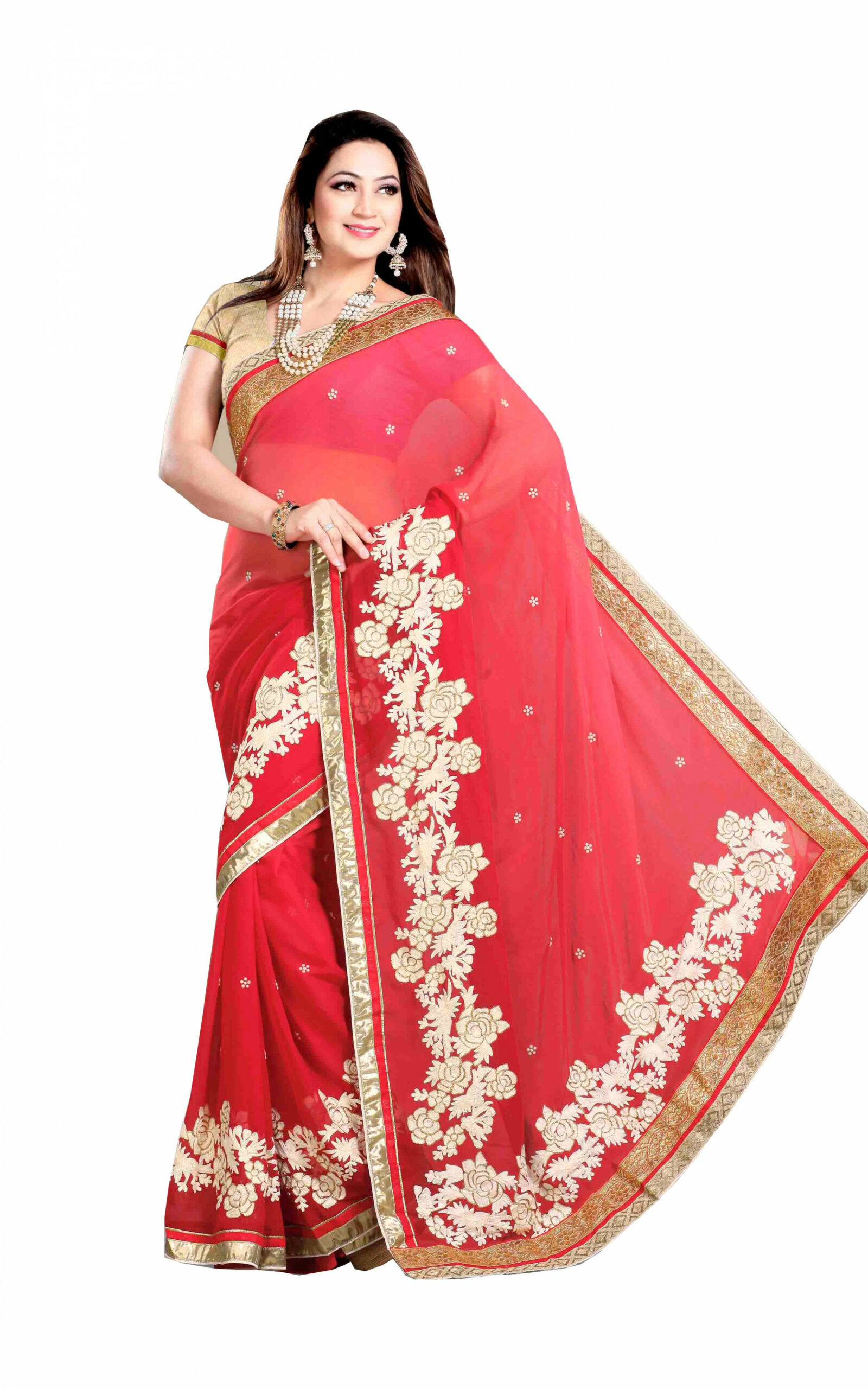 Firstloot Red Shaded color Embroidery Saree-Online Shopping-
