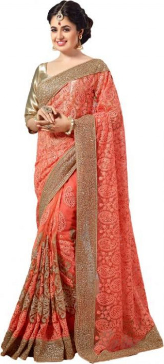 Flat 90% off on M.S.Retail Embroidered Bollywood Net Saree