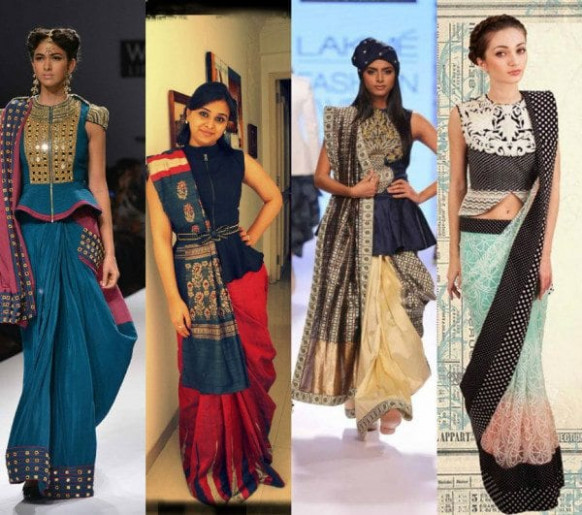 Flaunting the saree look with a peplum twist