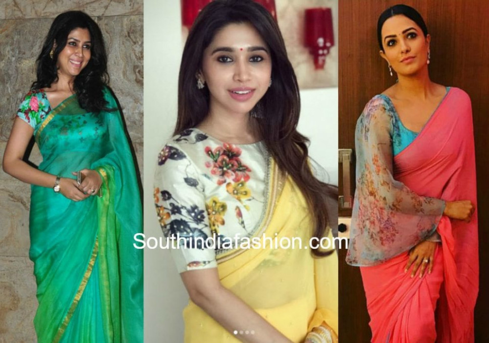 Floral Blouses With Plain Sarees- Spring In Winter
