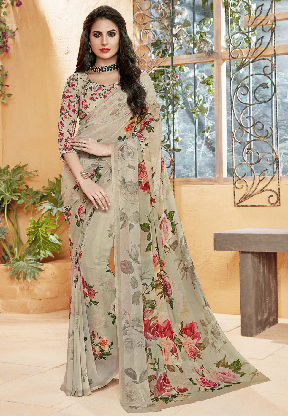 Floral Printed Georgette Saree in Beige : SEW4482
