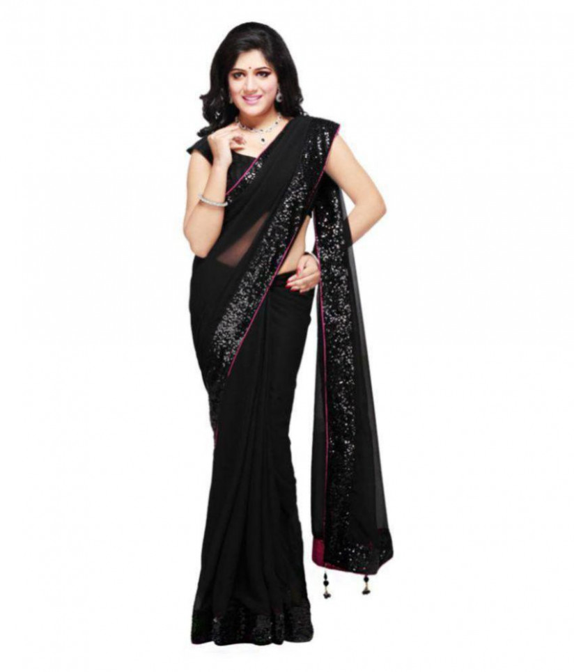 Fortune Feature Black Net Saree - Buy Fortune Feature