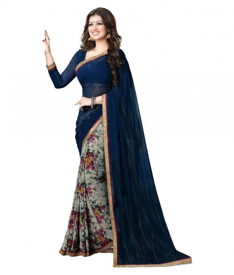 Gazal Fashions Blue and Grey Chiffon Saree - Buy Gazal