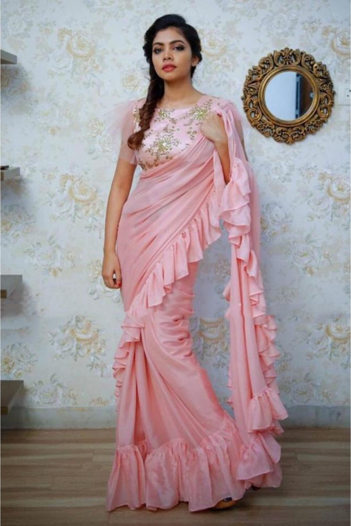 Georgette Embroidery Ruffle Saree In Pink Colour