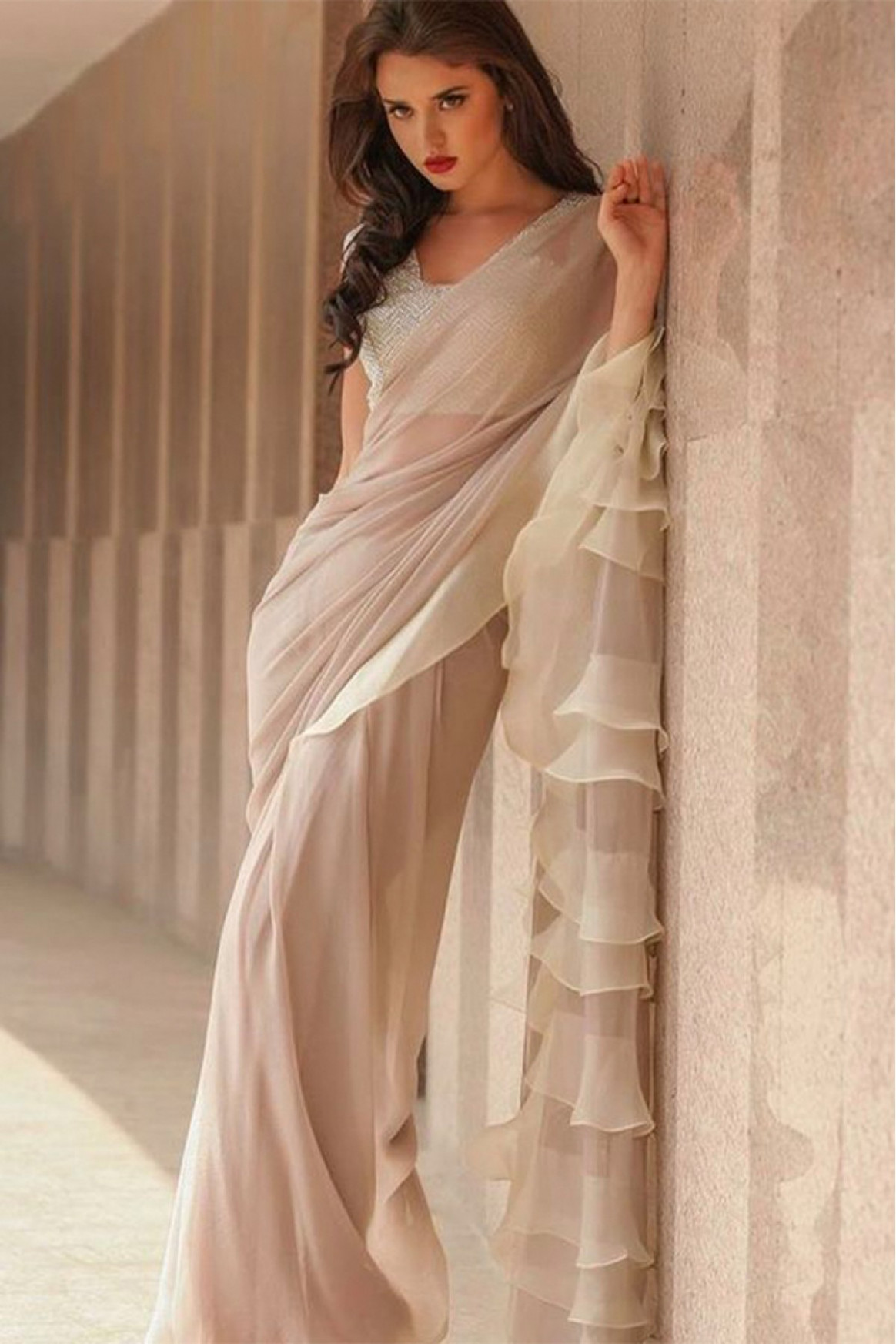 Georgette Ruffle Saree In Cream Colour