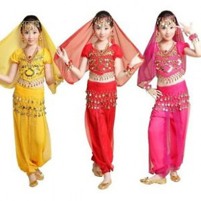 Girls Kid Indian Belly Dance Costume Top Pants Outfit