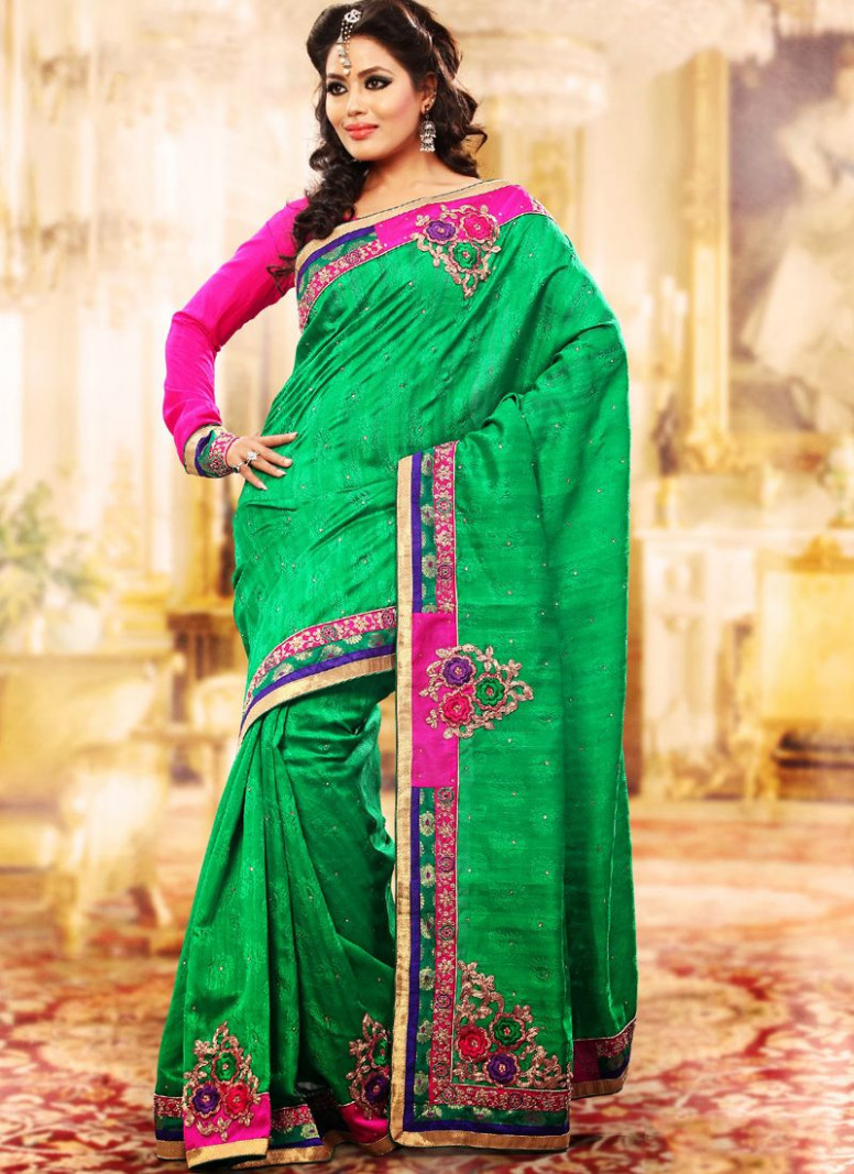 Gleaming Emerald Green Embroidered Saree