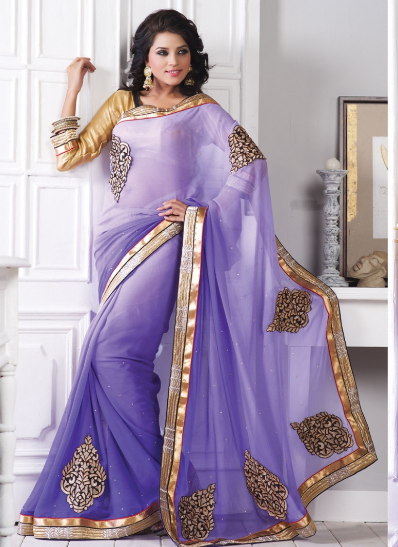 Gleaming Lavender Shaded Casual Saree