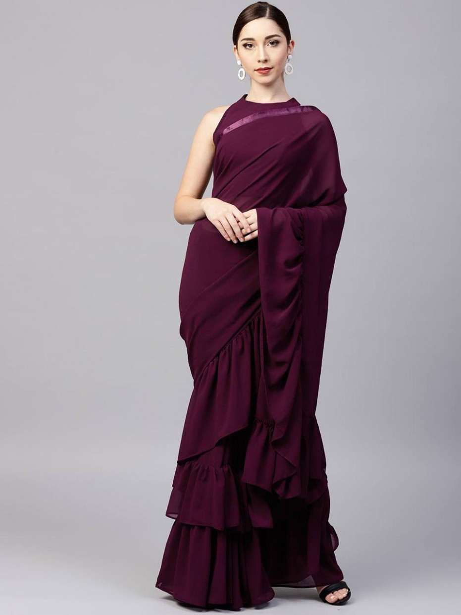 Glowing Purple Color Georgette Solid Ruffle Saree With