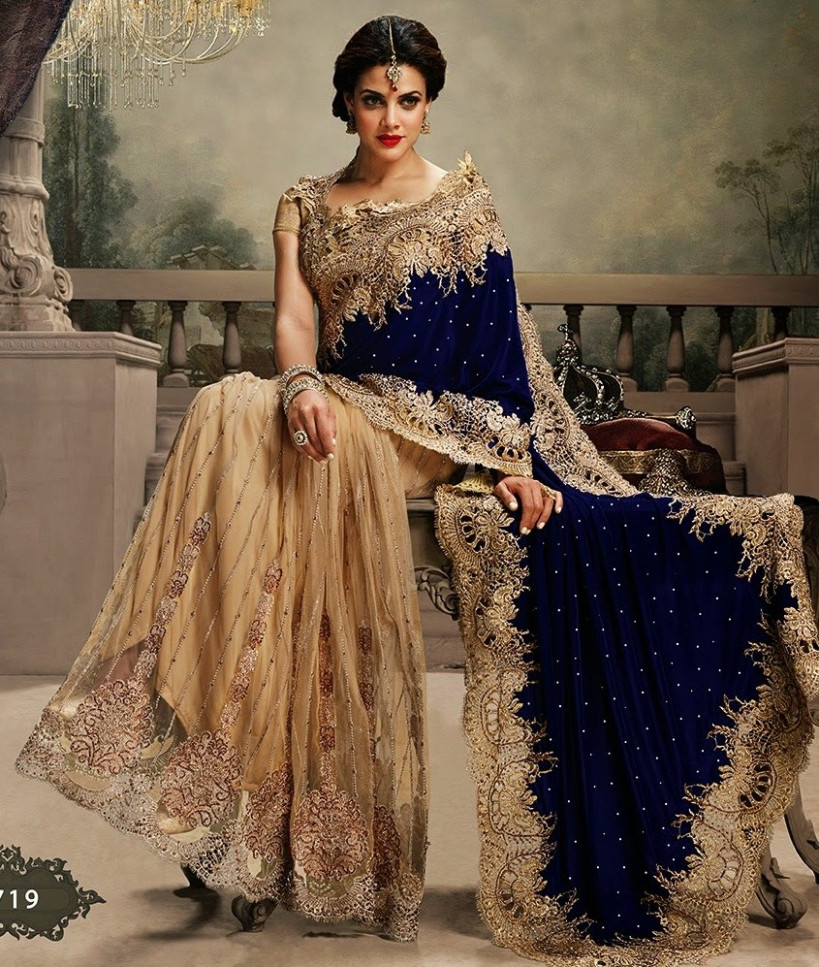 Gold And Blue Royal Look Bridal Saree-Online Shopping-