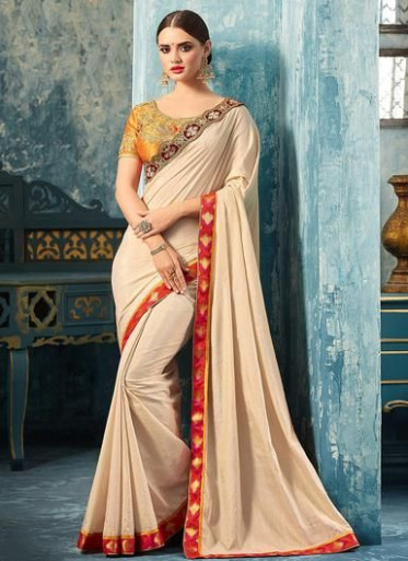 Gold and Cream Embroidered Silk Saree  Saree designs
