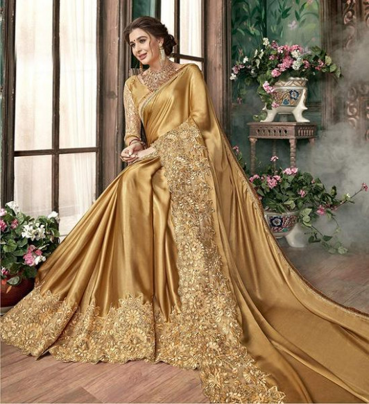 Gold Color Saree Online  Golden Saree  Plain Gold
