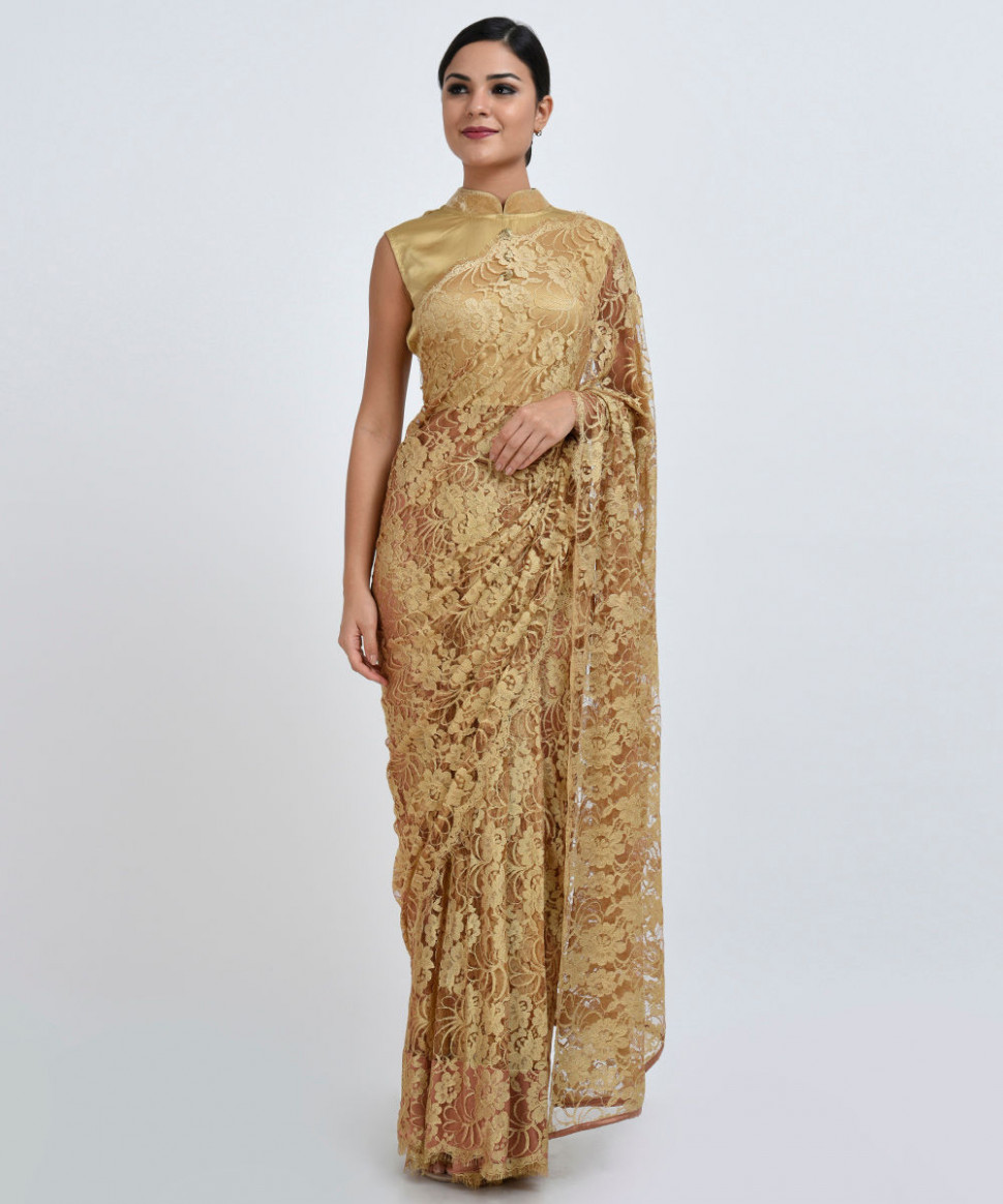 Gold French Chantilly Lace Saree With Satin Crepe Blouse