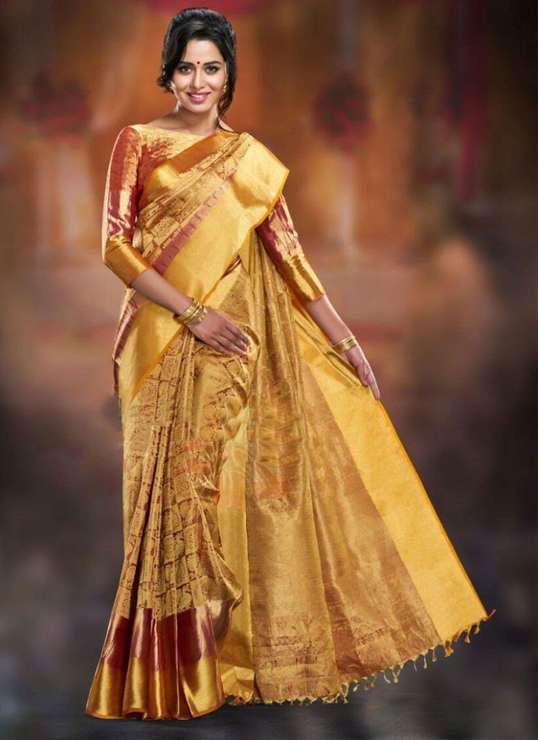 Gold Kanchipuram Silk Kanchipuram Silk Sarees Wedding