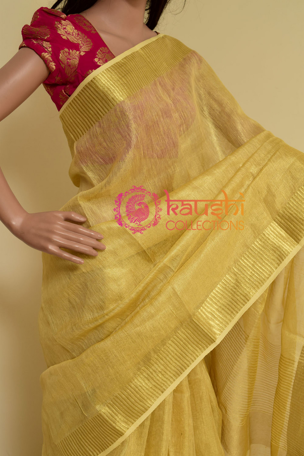 Gold linen tissue silk saree – KCWN10 – kaushi-collection
