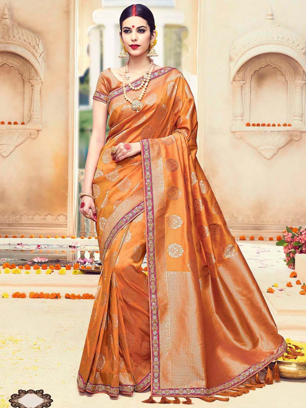 Gold wedding silk saree - G3-WSA17779  G3fashion.com