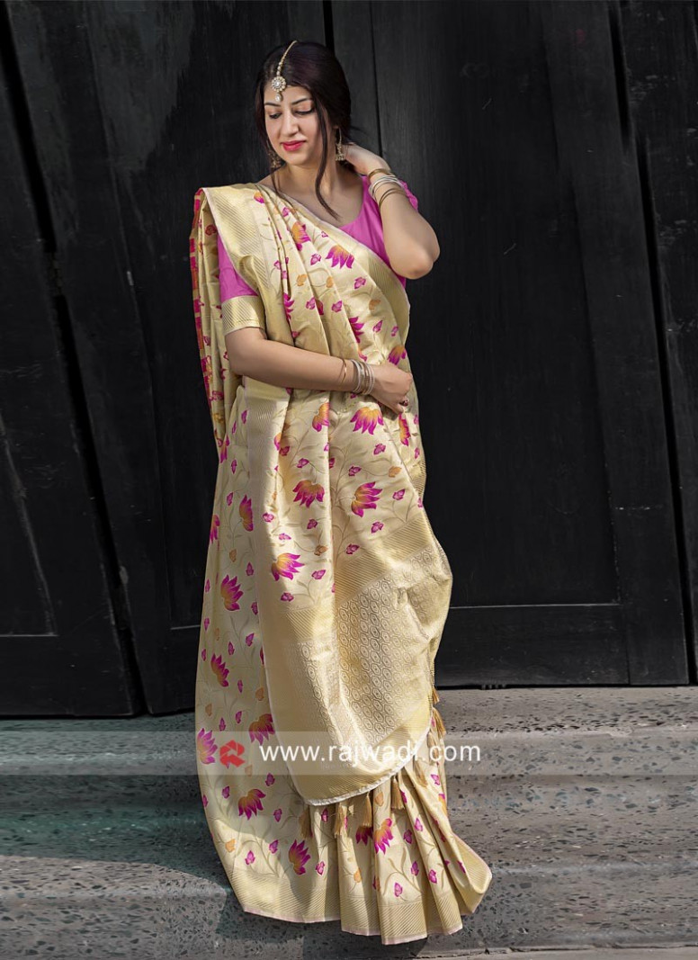 Golden Cream Kanjeevaram Silk Saree