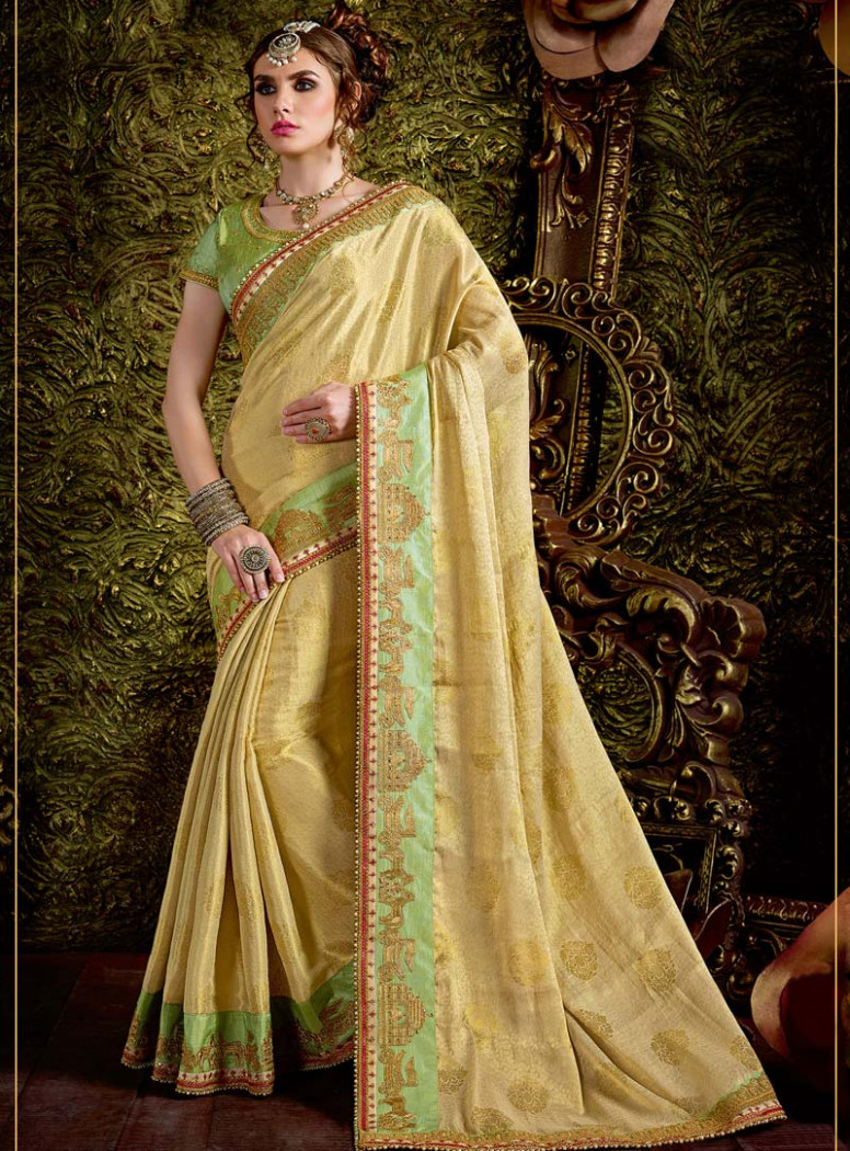 Golden Jacquard Wedding Saree 86732