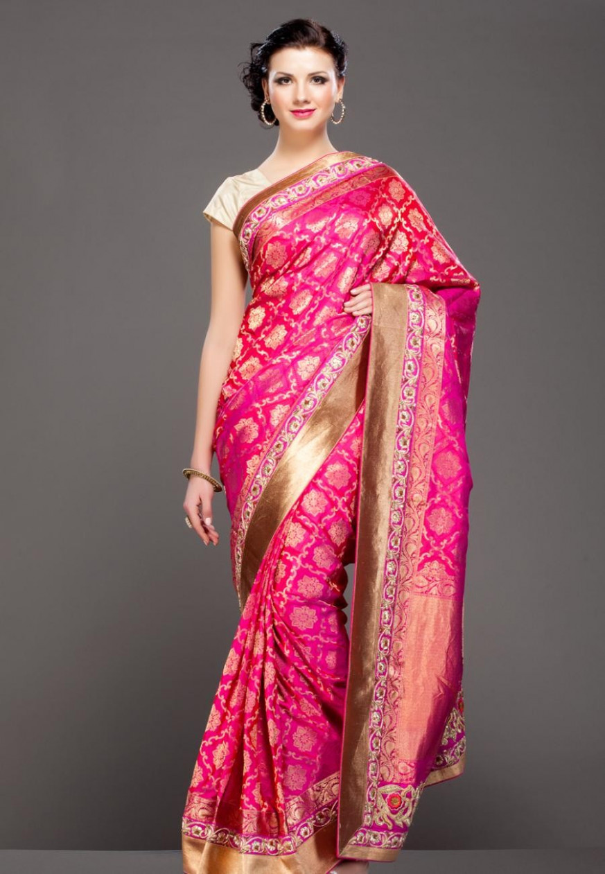 Grab Fuschia Pink floral gold zari embroidered banarasi