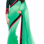 Green Chiffon Sequence Border Saree With Designer Blouse