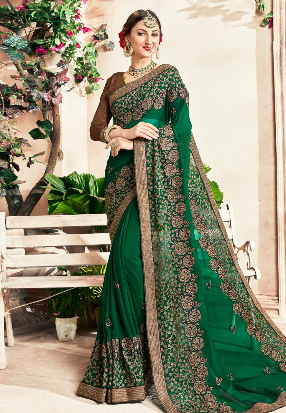 Green Georgette Embroidered Saree With Blouse 166430