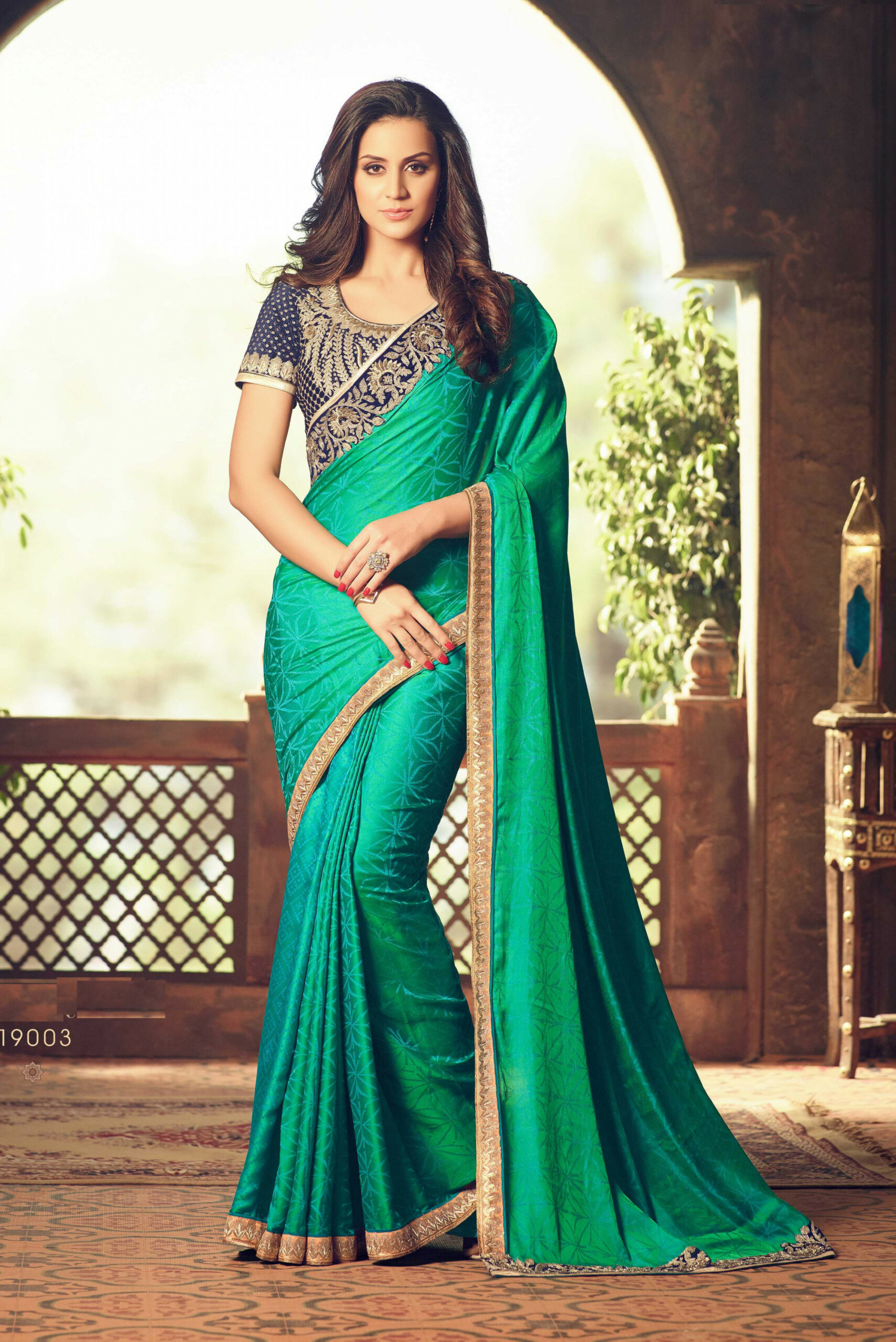 Green Party Wear Saree With Embroidered Blue Blouse  Brijraj