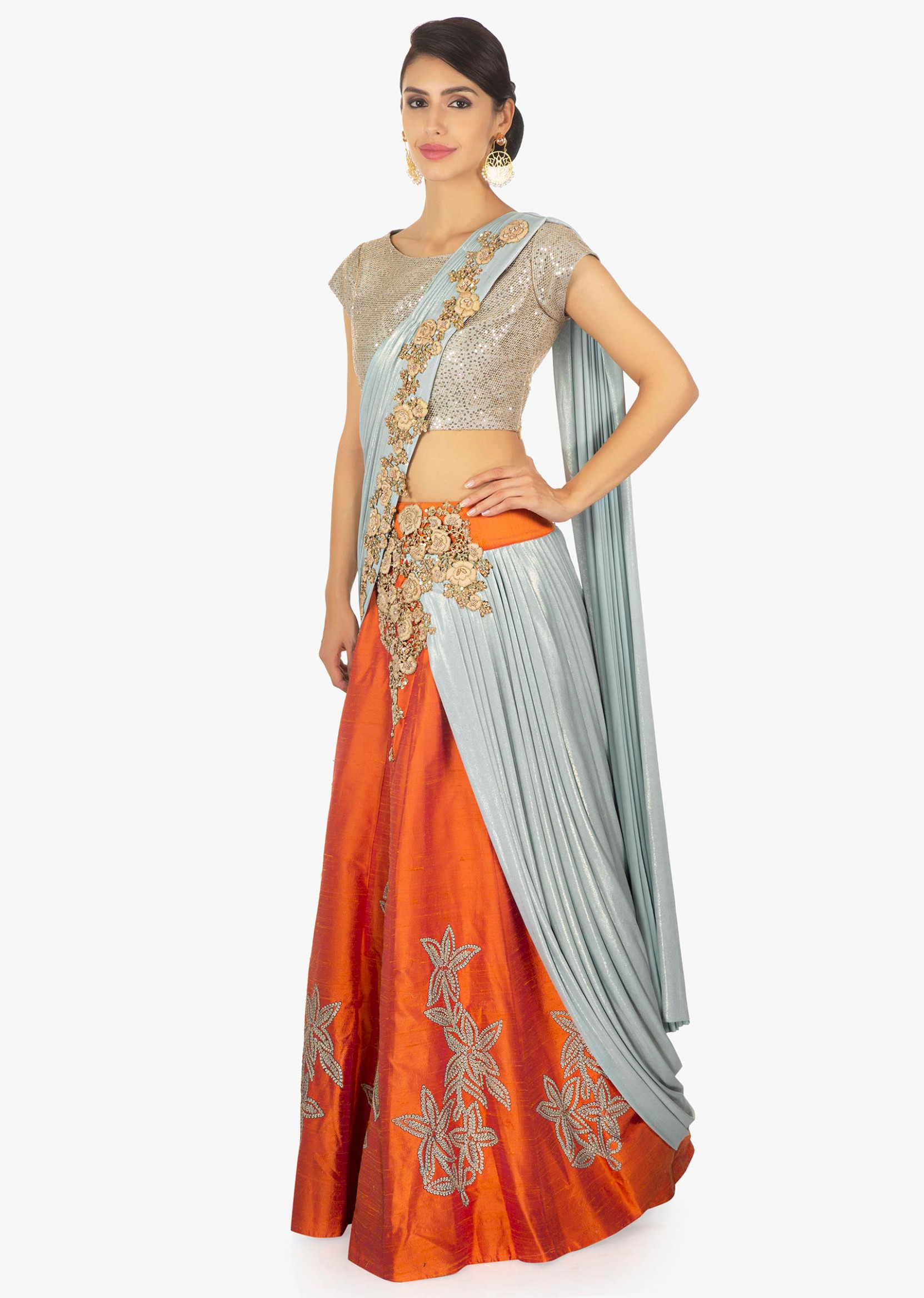 Grey and orange saree lehenga with blue lycra preattached