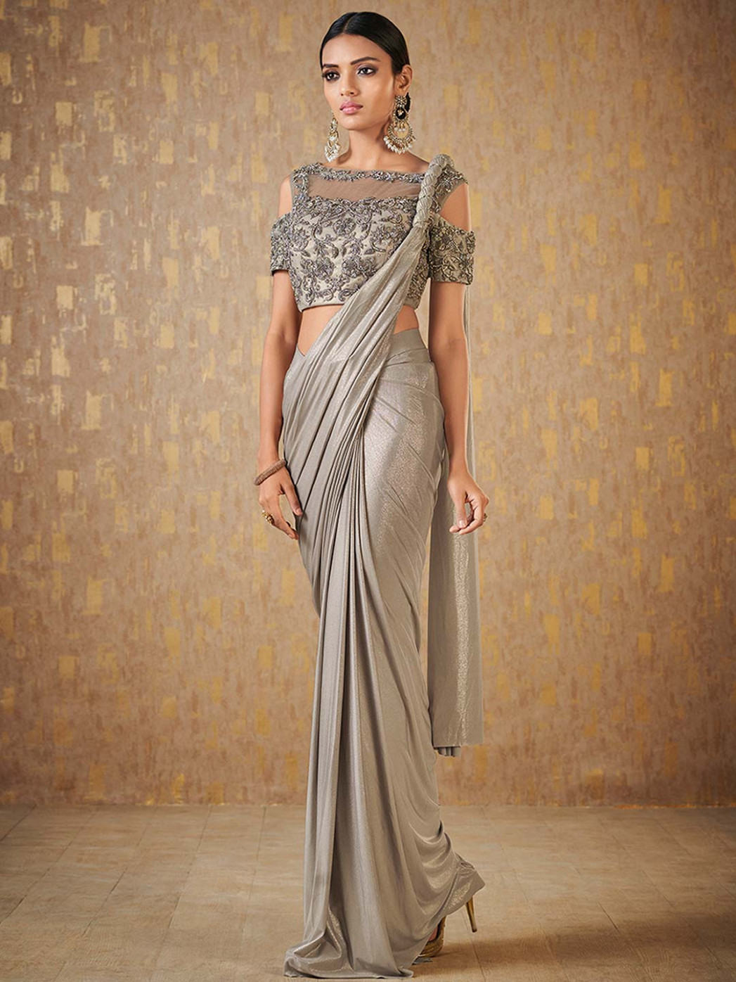 Grey color party wear shimmer ready to wear saree - G3