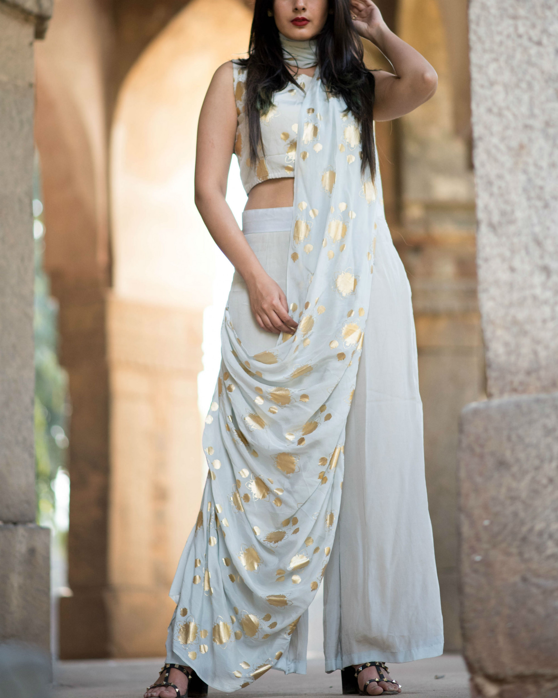 Grey pant saree by Label Nitika  The Secret Label