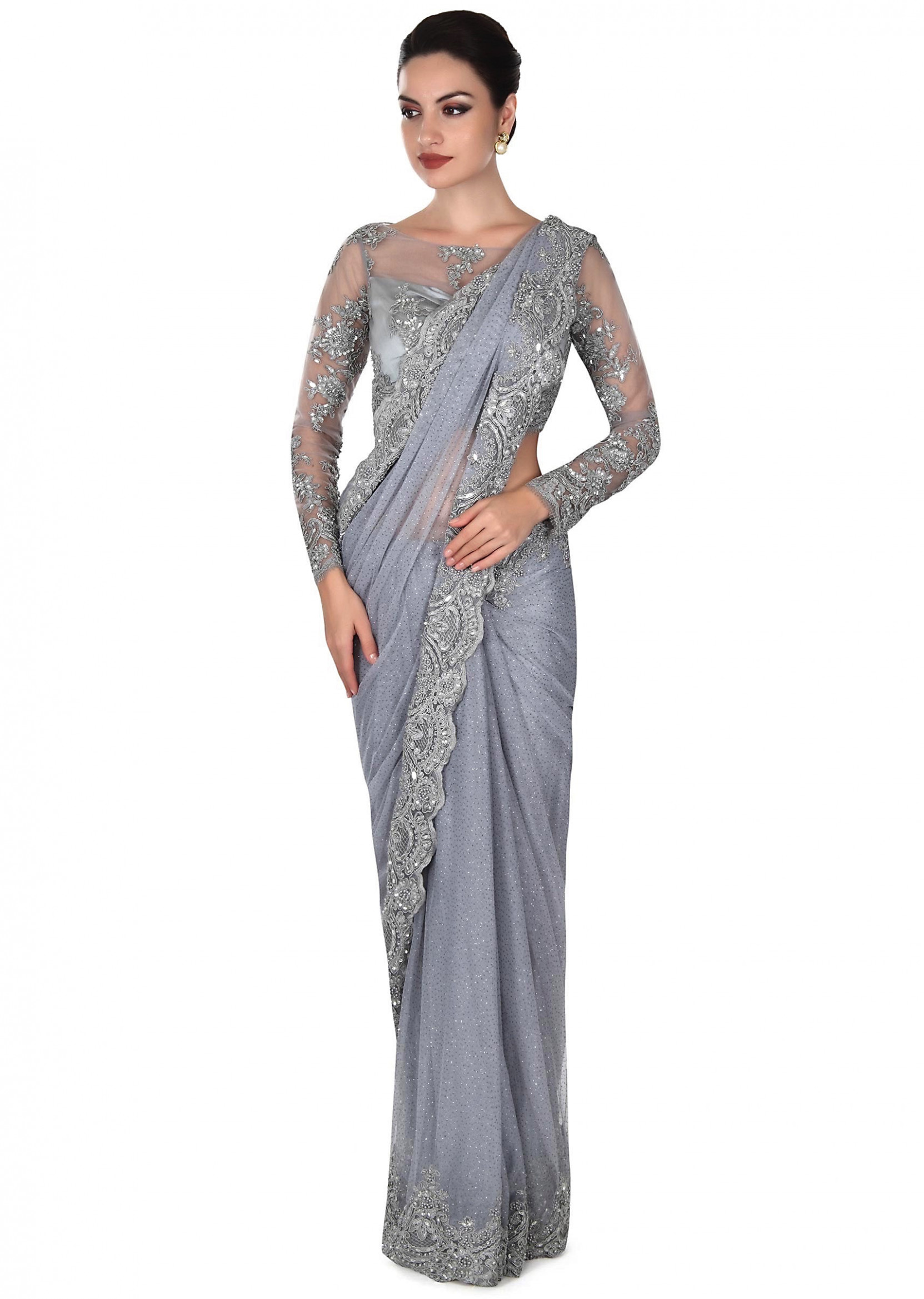 Grey saree matched with embellished blouse only on Kalki