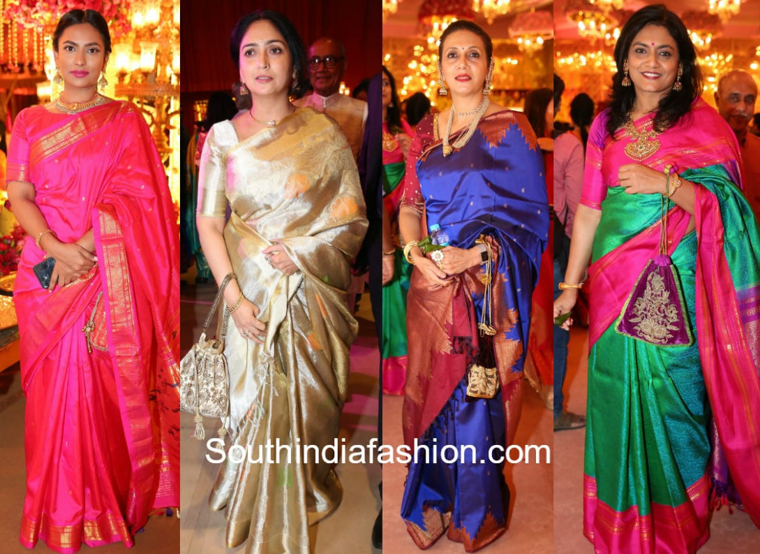 Guests Saree Styles at Shriya Bhupal and Anindith Reddy's