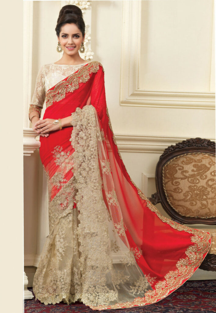 Half N Half Embroidered Georgette and Net Saree in Red and
