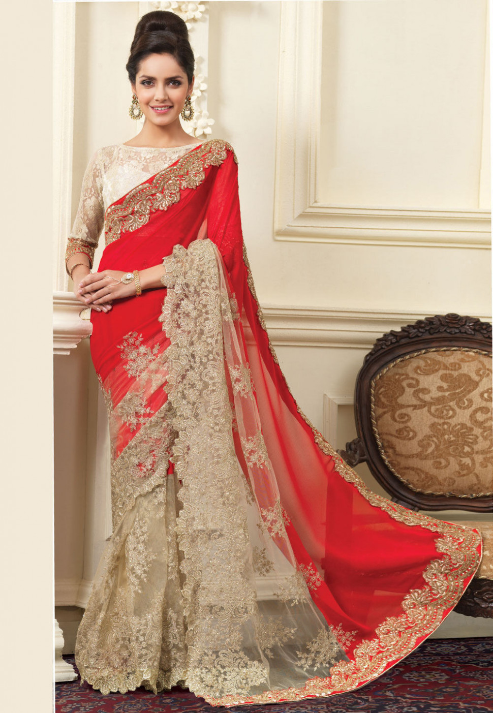 Half N Half Embroidered Georgette and Net Saree in Red and  - red and white saree