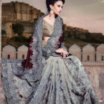 Half net – half velvet designer saree in a combination of