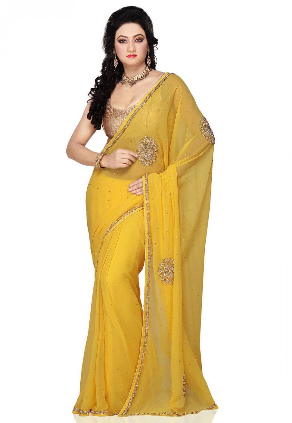 Hand Embroidered Chiffon Saree in Yellow : SEH419