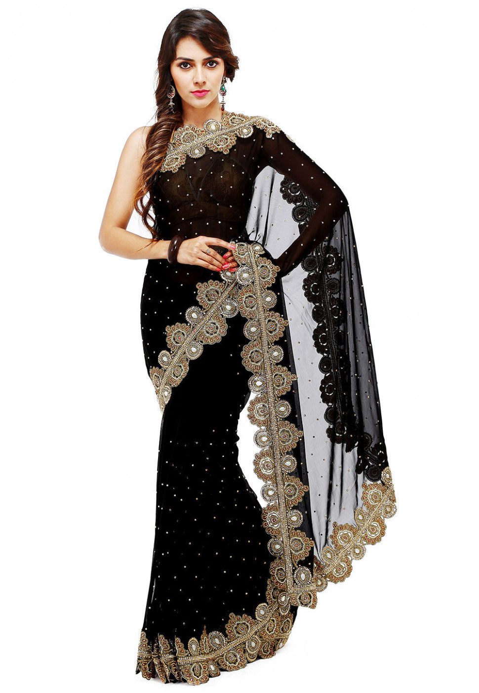 Hand Embroidered Georgette Saree in Black : SAR879
