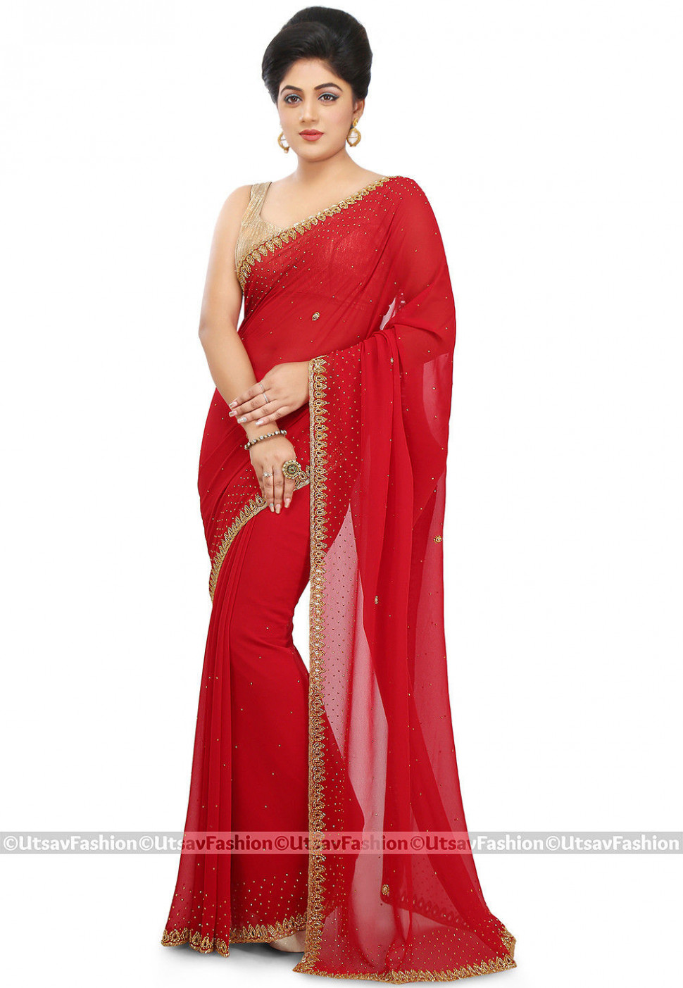 Hand Embroidered Georgette Saree in Red : SSVA233