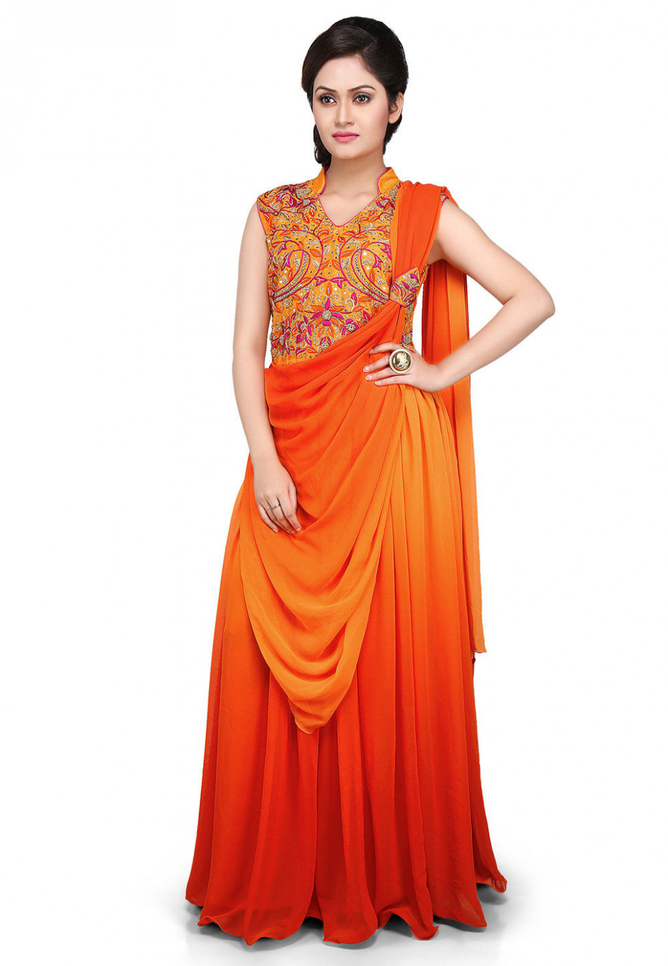 Hand Embroidered Georgette Saree Style Gown in Orange and